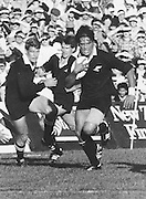 New Zealand All Blacks rugby union match, Zinzan Brooke, John Kirwin and David Kirk sprinting to score a try. Date Unknown, Photo: Norman Smith.