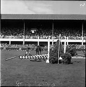 05/08/1960<br /> 05/08/1960<br /> 05 August 1960<br /> R.D.S Horse Show Dublin (Friday). Aga Khan Trophy. L. Mullertz of Denmark after a fall from &quot;Tosca&quot;.