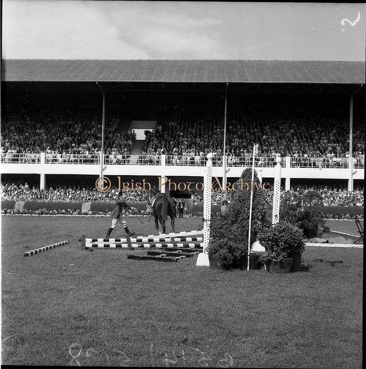 """05/08/1960<br /> 05/08/1960<br /> 05 August 1960<br /> R.D.S Horse Show Dublin (Friday). Aga Khan Trophy. L. Mullertz of Denmark after a fall from """"Tosca""""."""