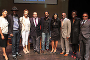 May 7, 2012- New York, NY United States: - (L-R) Stephane Lawson-Muhammad, Actor Wood Harris, Actress Nicole Ari Parker, Dr. Michael Eric Dyson, Actor Blair Underwood, Producer Alia M. Jones, Dr. Khalil Gibran Muhammad, Director, The Schomburg Center, Alicia Young, Asst. Director, The Schomburg Center and Producer Stephen Byrd attend the Theater Talks at the Schomburg: A Streetcar Named Desire held at the Schomburg Center for Research in Black Culture, part of the New York Public Library on May 7, 2012 in Harlem Village, New York City. The Schomburg Center for Research in Black Culture, a research unit of The New York Public Library, is generally recognized as one of the leading institutions of its kind in the world. For over 80 years the Center has collected, preserved, and provided access to materials documenting black life, and promoted the study and interpretation of the history and culture of peoples of African descent.  (Photo by Terrence Jennings) .