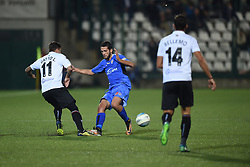 November 3, 2018 - Vercelli, Italy - Italian midfielder Leonardo Gatto from Pro Vercelli team playing during Saturday evening's match against Novara Calcio valid for the 10th day of the Italian Lega Pro championship and Italian defender Angelo Tartaglia from Novara Calcio team playing during Saturday evening's match against Pro Vercelli team valid for the 10th day of the Italian Lega Pro championship  (Credit Image: © Andrea Diodato/NurPhoto via ZUMA Press)