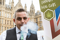 London, October 10 2017. Medical cannabis users from the United Patients Alliance gather at Old Palace Yard with Paul Flynn MP, demanding the decriminalisation of cannabis which they say has proven to be the most successful aid to pain relief, demanding that MPs respect the scientifically proven benefits of THC (tetrahydrocannabinol). © Paul Davey