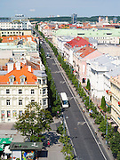 High-angle view overlooking Vilnius, Lithuania and Gediminas Prospektas, from the Clocktower by the Cathedral