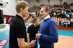 Gasper Ribic, head coach of Calcit Volleyball and Metod Ropret, president of OZS  during match between OK Nova KBM Branik and OK Calcit Volleyball in Finals of Slovenian Women Volleyball Cup 2013/14 on December 27, 2013 in Hoce, Slovenia.  Calcit Volleyball won 3-1 and became Slovenian Cup Champion 2013/14. Photo by Vid Ponikvar / Sportida
