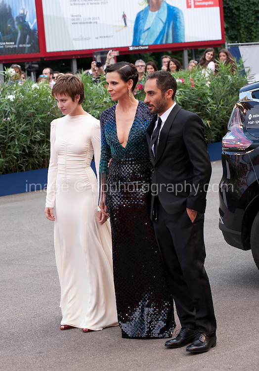 Actress Lou de Laage; actress Juliette Binoche; director Piero Messina; at the gala screening for the film L'attesa at the 72nd Venice Film Festival, Saturday September 5th 2015, Venice Lido, Italy.