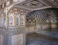 JAIPUR, INDIA - CIRCA NOVEMBER 2018: Interior of  the Amber Fort. Jaipur is the capital and the largest city of the Indian state of Rajasthan. Jaipur is also known as the Pink City, due to the dominant color scheme of its buildings and a popular tourist destination.