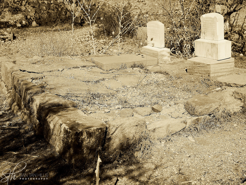 Two side-by-side graves at the pioneer cemetery in Old Congress, AZ