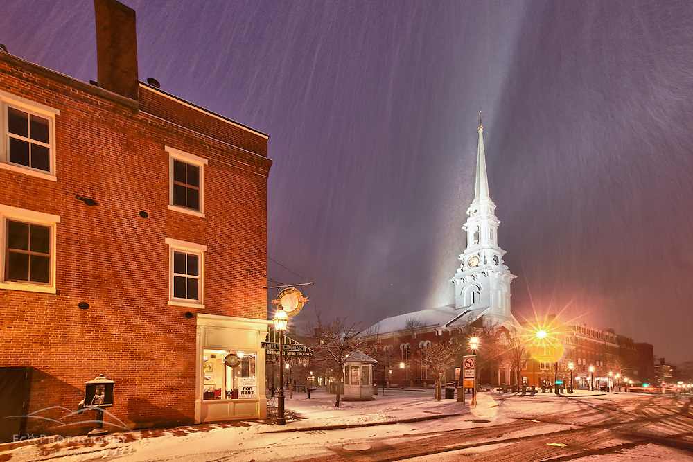 Snow falling in Market Square, Portsmouth, New Hampshire.