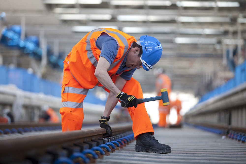March 2012 Blackfriars Station , London - Fitting of noise damping syatem for railway track on the new Thameslink line.