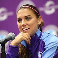 ORLANDO, FL - APRIL 23: Alex Morgan of the Orlando Pride speaks with the media after winning a NWSL soccer match against the Houston Dash at the Orlando Citrus Bowl on April 23, 2016 in Orlando, Florida. The Orlando Pride won the game 3-1.  (Photo by Alex Menendez/Getty Images) *** Local Caption *** Alex Morgan