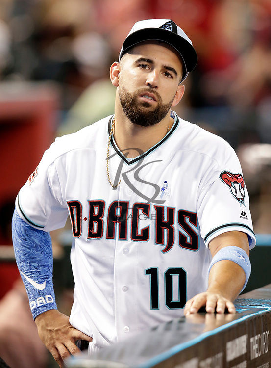 Arizona Diamondbacks shortstop Deven Marrero (10) in the first inning during a baseball game against the New York Mets, Sunday, June 17, 2018, in Phoenix. (AP Photo/Rick Scuteri)