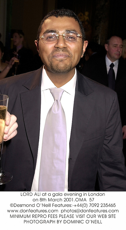 LORD ALI at a gala evening in London on 8th March 2001.OMA  57