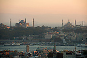 Hagia Sophia, left, and the Blue Mosque, Istanbul. Turkey