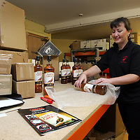 Vicky Robinson of the mail order department at The Famous Grouse Experience workin hard to deal with the massive demand of products that are being ordered from the Famous Grouse Experience catalogue.<br />