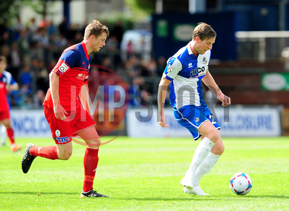 Bristol Rovers' Adam Cunnington is challenged by AFC Telford's Steve Akrigg - Photo mandatory by-line: Neil Brookman - Mobile: 07966 386802 23/08/2014 - SPORT - FOOTBALL - Bristol - Memorial Stadium - Bristol Rovers v AFC Telford - Vanarama Football Conference
