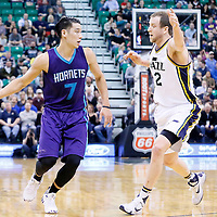 27 January 2016: Utah Jazz forward Joe Ingles (2) defends on Charlotte Hornets guard Jeremy Lin (7) during the Utah Jazz 102-73 victory over the Charlotte Hornets, at the Vivint Smart Home Arena, Salt Lake City, Utah, USA.