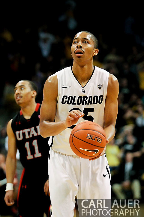 February 21st, 2013 Boulder, CO - Colorado Buffaloes sophomore guard Spencer Dinwiddie (25) sets to attempt a free throw during the second half of action in the NCAA basketball game between the University of Utah Utes and the University of Colorado Buffaloes at the Coors Events Center in Boulder CO
