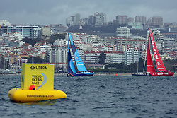 November 3, 2017 - Lisbon, Portugal - Vestas 11th Hour Racing team captained by American Charlie Enright (L ) and MAPFRE team captained by Spanish Xabi Fernandez in action during the Volvo Ocean Race 2017-2018 In-port Race at the Tagus River in Lisbon, Portugal on November 3, 2017. (Credit Image: © Pedro Fiuza/NurPhoto via ZUMA Press)