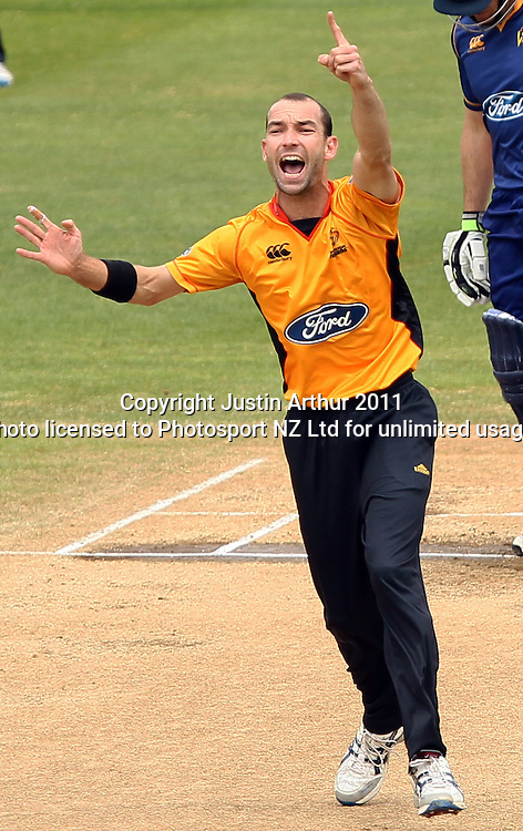 Andrew McKay appeals. Ford Trophy - Wellington Firebirds v Otago Volts, Hawkins Basin Reserve, Sunday 4 December 2011. Photo: Justin Arthur / Photosport.co.nz