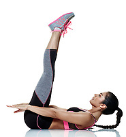 one mixed raced woman exercising fitness exercises isolated on white background
