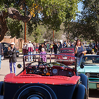 Gathering of all the show cars for a brief stop at Cerrillos, New Mexico on the Mountain Tour, part of the 2013 Santa Fe Concorso.