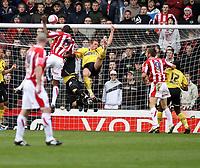 Photo: Mark Stephenson/Sportsbeat Images.<br /> Stoke City v Watford. Coca Cola Championship. 09/12/2007.Stokes Leon Cort (no 5 ) heads over the bar