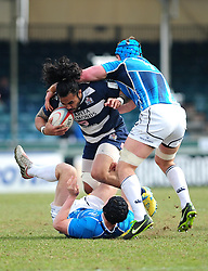 Bristol Outside Centre (#13) Fautua Otto is tackled - Photo mandatory by-line: Dougie Allward/JMP - Tel: Mobile: 07966 386802 07/04/2013 - SPORT - RUGBY - Memorial Stadium - Bristol. Bristol v Leinster A - B&I Cup.