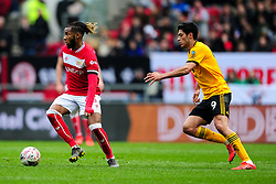 Kasey Palmer of Bristol City is marked by Raul Jimenez of Wolverhampton Wanderers - Mandatory by-line: Ryan Hiscott/JMP - 17/02/2019 - FOOTBALL - Ashton Gate Stadium - Bristol, England - Bristol City v Wolverhampton Wanderers - Emirates FA Cup fifth round proper