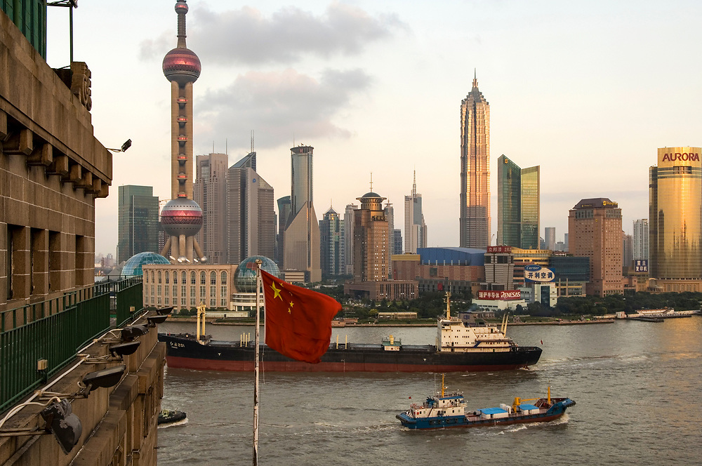 CHINA. Shanghai, Pudong skyline across the Yangtse River, seen from the Peace Hotel