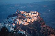 SPAIN, ANDALUSIA CASARES; a picturesque mountain village or 'pueblo blanco' near Estepona above the Costa del Sol