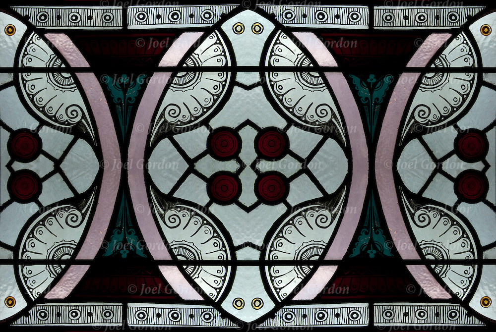 Pre-Raphaelite stained glass windows go up on the grand spiral staircase and into the main reading room of the Jefferson Market Library.<br /> <br /> Two or more layers were used to enhance, alter, manipulate the image, creating an abstract surrealistic mirrored symmetry.