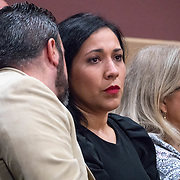 AUGUST 13, 2018---FORT LAUDERDALE, FLORIDA--<br /> Michael Ibar, in Beige jacket, Pablo Ibar's brother, and Tanya Ibar, in black dress, Pablo's wife, discuss developments  of a hearing to schedule his new trial. Ibar has been in jail  for 24 years accused of the murders of a bar owner and two models in his house following a home invasion.<br /> (Photo by Angel Valentin)