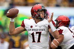 BERKELEY, CA - SEPTEMBER 12:  Quarterback Maxwell Smith #17 of the San Diego State Aztecs passes against the California Golden Bears during the first quarter at California Memorial Stadium on September 12, 2015 in Berkeley, California. (Photo by Jason O. Watson/Getty Images) *** Local Caption *** Maxwell Smith