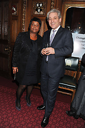 DOREEN LAWRENCE and the Speaker of The House of Commons JOHN BERCOW at a reception for the Stephen Lawrence Charitable Trust hosted by the Speaker of The House of Commons John Bercow and supported by law firm Freshfields Bruckhaus Deringer in The State Rooms, Speaker's House, the House of Commons, London on 19th December 2012.