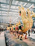 Sculpture at Bangkok Suvarnabhumi Airport depicting Vishnu Kurmavatara and the churning of the Milk Ocean. The naga (king of serpents), Vasuki, is curled around the mountain Mandara. Vishnu, incarnated in the form of a great turtle, supports the mountain on his back.