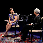 NHPR's Virginia Prescott interviews Sue Monk Kidd during a Writers on a New England Stage show at The Music Hall in Portsmouth, NH