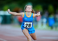 20 Aug 2016: Claudia Manley, from Wicklow, in the Girls U12 100m heats.   2016 Community Games National Festival.  Athlone Institute of Technology, Athlone, Co. Westmeath. Picture: Caroline Quinn