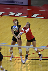 28 AUG 2009: Libero Brett Wilson steps in ahead of Molly Rhyne to dig a ball. The Redbirds of Illinois State defeated the Runnin' Bulldogs of Gardner-Webb in 3 sets during play in the Redbird Classic on Doug Collins Court inside Redbird Arena in Normal Illinois