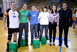 Best players Jaka Slak Riosa, Ana Skarlovnik , Jernej Vrhunc and Larisa Pirih and Vojko Korosec at SKL finals volleyball match and cup and medal ceremony, on April 22, 2009, in Hall Tivoli, Ljubljana, Slovenia. (Photo by Vid Ponikvar / Sportida)