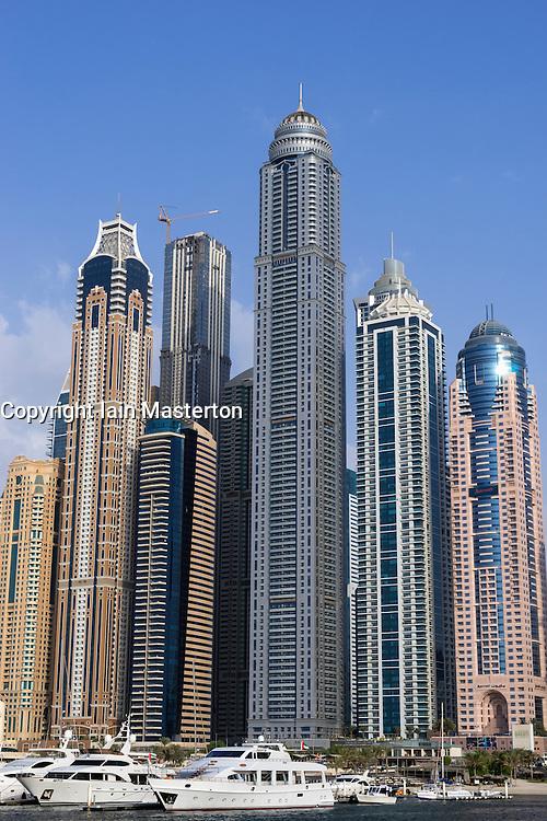 Skyline of skyscrapers in Marina district in Dubai United Arab Emirates