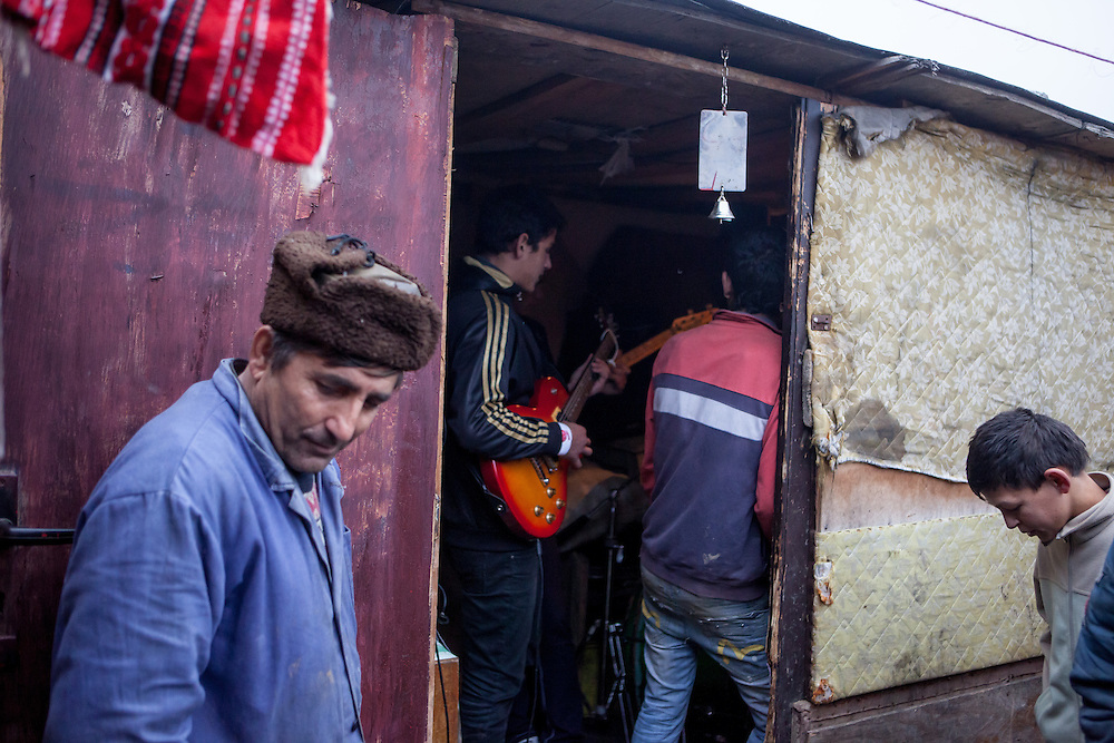 """Band rehearsel at the Roma settlement located in """"Budulovskej Street"""" in Moldava nad Bodvou, Eastern Slovakia about 30 km from Kosice."""