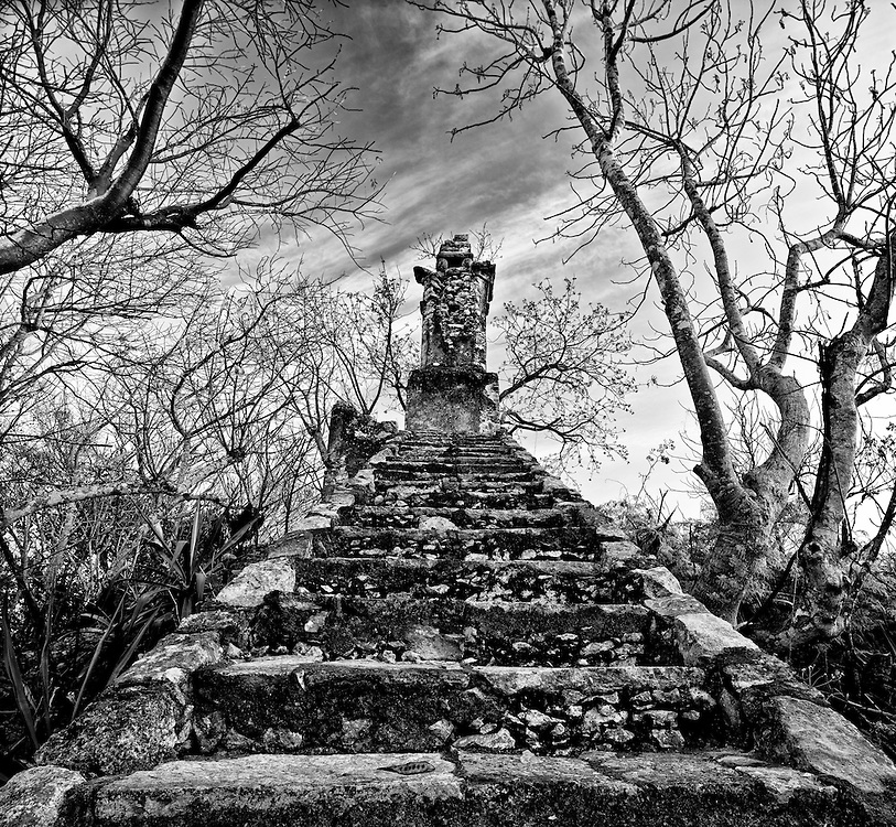 View of stairs to top of Mayan ruin at Hacienda. Both beautiful and mysterious.