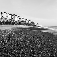 San Clemente CA beach black and white photo. San Clemente is a popular coastal beach city along the Pacific Ocean in Orange County Southern California. Copyright ⓒ 2017 Paul Velgos with All Rights Reserved.