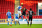 St Johnstone midfielder Murray Davidson (#8) wins the header against Partick Thistle forward Kevin Nisbet (#20) during the Betfred Scottish Cup match between St Johnstone and Partick Thistle at McDiarmid Stadium, Perth, Scotland on 8 August 2017. Photo by Craig Doyle.