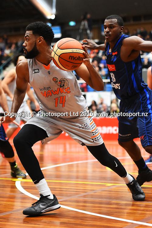 Hawks player Alonzo Burton during their NBL Basketball game Nelson Giants v Hawke's Bay Hawks. Trafalgar Centre, Nelson, New Zealand. Saturday 21 May 2016. ©Copyright Photo: Chris Symes / www.photosport.nz
