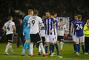 Sheffield United forward Leon Clarke (9) and Sheffield Wednesday players shake hands at full time during the EFL Sky Bet Championship match between Sheffield United and Sheffield Wednesday at Bramall Lane, Sheffield, England on 9 November 2018.