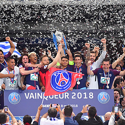 (R-L) Captain Thiago Silva of PSG lifts the trophy with his Les Herbiers counterpart Sebastein Flochon following the French Cup Final between Les Herbiers and Paris Saint Germain at Stade de France on May 8, 2018 in Paris, France. (Photo by Dave Winter/Icon Sport)
