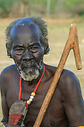 Africa, Ethiopia, Omo River Valley Hamer Tribesman ready for the start of the Jumping of the Bulls ceremony