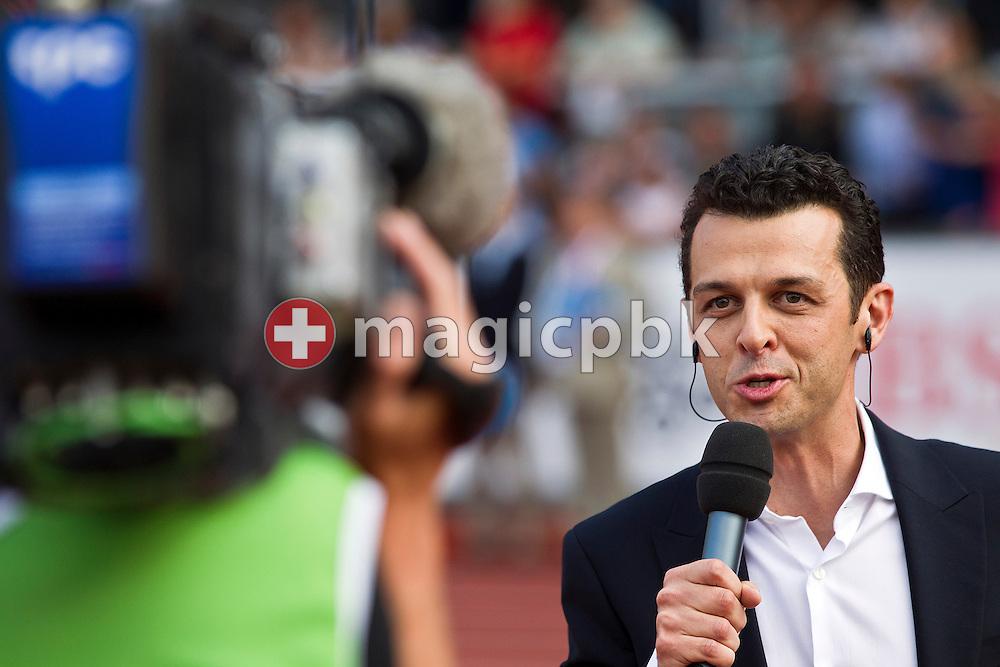Swiss TV commentator Jann Billeter reports for in-house tv during the IAAF Diamond League meeting at the Letzigrund Stadium in Zurich, Switzerland, Thursday, Aug. 19, 2010. (Photo by Patrick B. Kraemer / MAGICPBK)