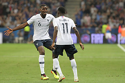 June 1, 2018 - Nice, France - Ousmane Dembl (France) celebrates after scoring with Paul Pogba (France) during the friendly football match between France and Italy at Allianz Riviera stadium on June 01, 2018 in Nice, France. (Credit Image: © Massimiliano Ferraro/NurPhoto via ZUMA Press)